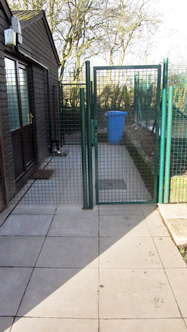 metal fence and gate image