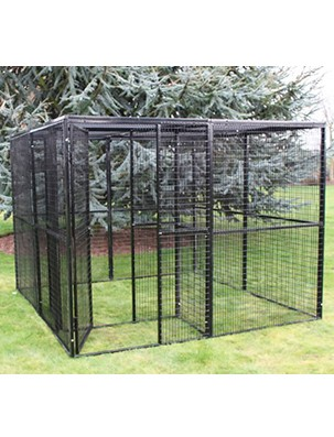 metal cat run 8ft x 8ft with secure entrance