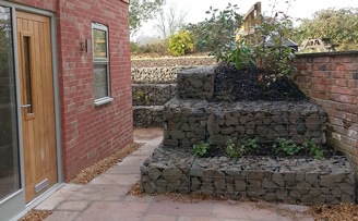 Mr Gleaves' Planted garden retaining wall